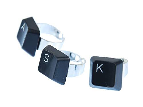 Miniblings Tastatur Ring WUNSCHBUCHSTABE Initialen individuell Computer schwarz, Buchstabe:P