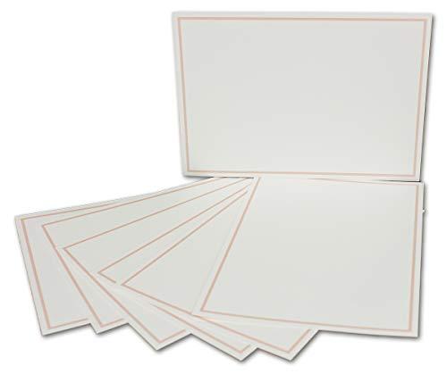 rte-DIN A6-240 g/m² - Natur-Weiss-Creme mit Rahmen in Rosa - 50 Stück - Premium QUALITÄT - 10,5 x 14,8 cm - Ideal für Grußkarten und Einladungen - NEUSER FarbenFroh ()