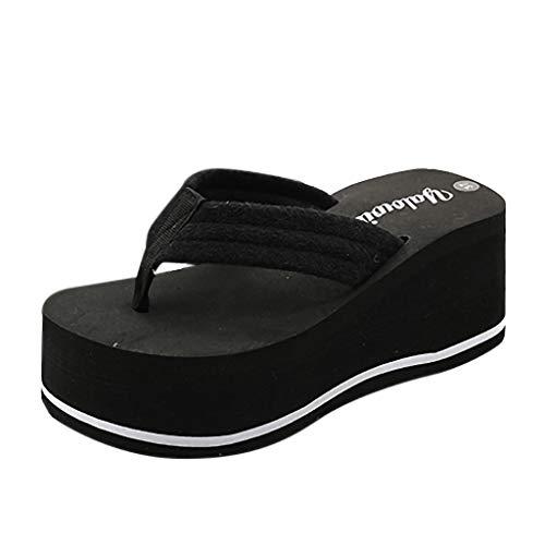 Frauen Bequeme Plateauschuhe Flip Flops Sommer Slipsole Sandalen Open Toe rutschfeste Slipper 7cm hochhackigen Strand Pool Schuhe UK Größe 4-6.5 Miu Miu-open-toe-heels