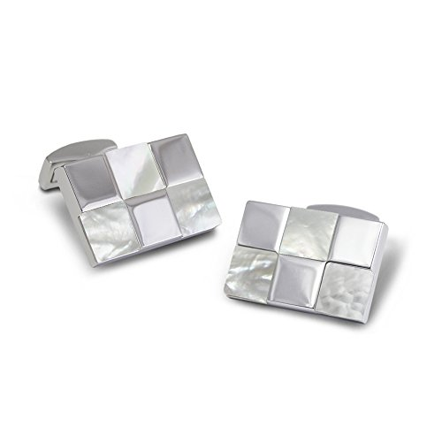 Fei Liu Fine Jewellery P.D. Man Racing Flagge weiß und Silber quadratische Manschettenknöpfe Perlmutt