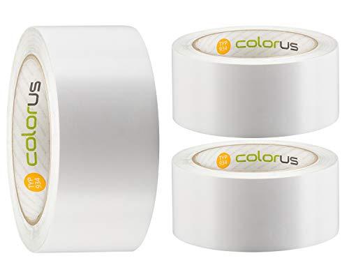 3 x Colorus PVC Putzerband PLUS | Schutzband 50 mm 33 m weiß glatt | PVC-Schutzband für glatte und leicht raue Untergründe | PVC Klebeband für Innen und Außen | UV-beständig