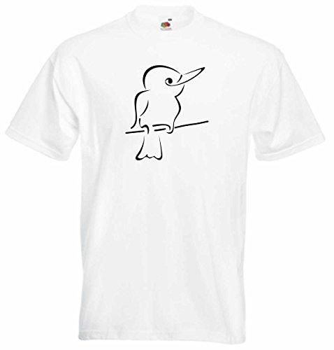 T-Shirt D341 T-Shirt Herren schwarz mit farbigem Brustaufdruck - Tribal Tier Vogel / fröhlicher Eisvogel Schwarz