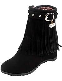 UH Damen Keilabsatz Stiefeletten Ankle Boots mit Fransen und Fell Vintage  Retro Bequeme Herbst Winter Schuhe 608004810d