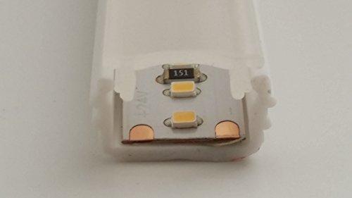 Perfil de plástico para luz LED, para insertar en una ranura de 14 mm, sin borde, color blanco, con tapa estándar