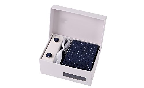 Coffret Tokyo - Cravate bleu marine à motifs carrés en surimpression ton sur ton, et petits losanges roses et bleu ciel, boutons de manchette, pince à