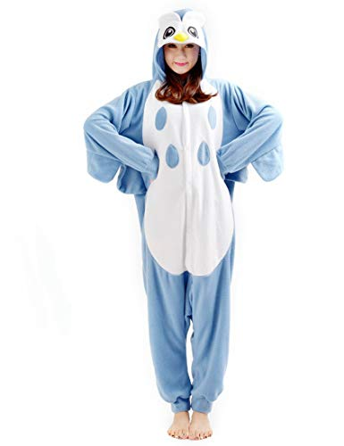 SAMGU Eule Unisex Adult Tier Onesie Pyjama Kostüm Kigurumi Schlafanzug Erwachsene Tieroutfit Jumpsuit Farbe Blau Größe M (Kostüm Für Frauen Eule)