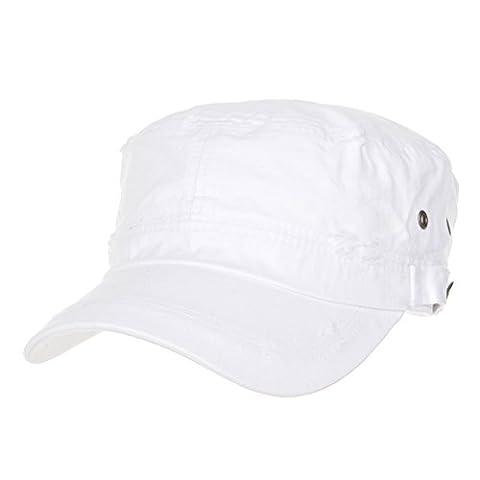 WITHMOONS Militaire Casquette de Baseball Cadet Cap Cotton Vintage Distressed Washed Hat CR4267 (White)