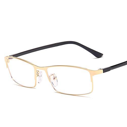 Metallrahmen Anti-Blaulicht-Brille Classic Frame Business Men Plain Glasses Brille (Color : Gold, Size : Kostenlos)