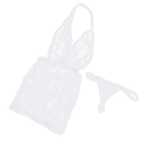 Gazechimp Miniatur Halter Neck Spitze Kleid mit Unterwäsche Set für 12 Zoll weibliche Action Figuren Zubehör - Weiß