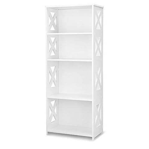 Finether weißesRegal Stehregal StandregalSteckregal Schuhregal Bücherregal für Wohnzimmer Badezimmerzur Aufbewahrung von Bücher Schuhe Toilettenartikel aus WPC wasserdicht 4 Böden 40 x 22 x 100 cm schmal weiß
