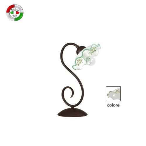 Lumetto in ceramica design classico lampada da tavolo decoro verde
