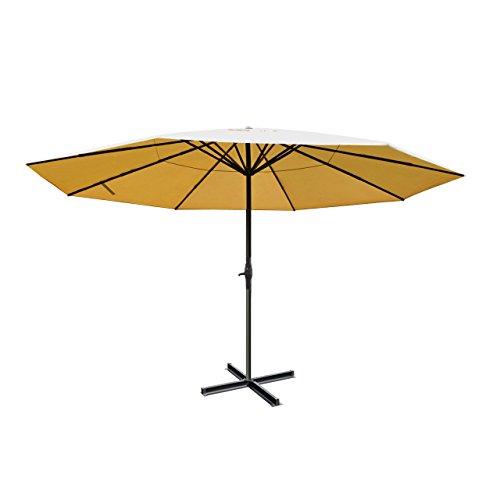 Alu-Sonnenschirm Meran Pro, Gastronomie Marktschirm ohne Volant Ø 5m ~ creme ohne Ständer