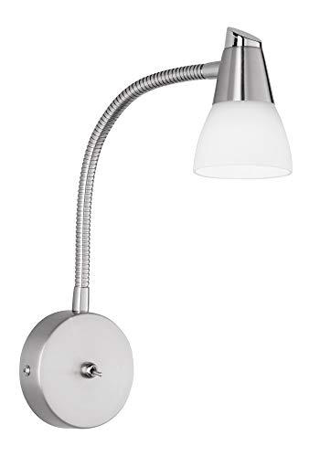 19-07 Halogen-Wandspot, exkl. 1x G9, mit Flexarm, in nickel matt, Glas in weiß ()