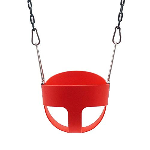 Zyangg-Home Kinder Adjustable Outdoor Gartenschaukelsitz Kunststoffbeschichtete Kettenschaukel Kit High Back Full Bucket Baby-Schaukelsitz Kindersicherheitssitz (Farbe : Rot, Größe : 32x26x29cm)