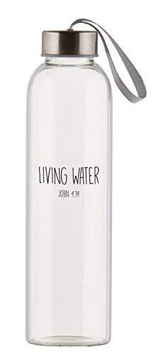 Living Water Clear 21Unze Glas Travel Wasser Flasche mit Schraubverschluss Deckel