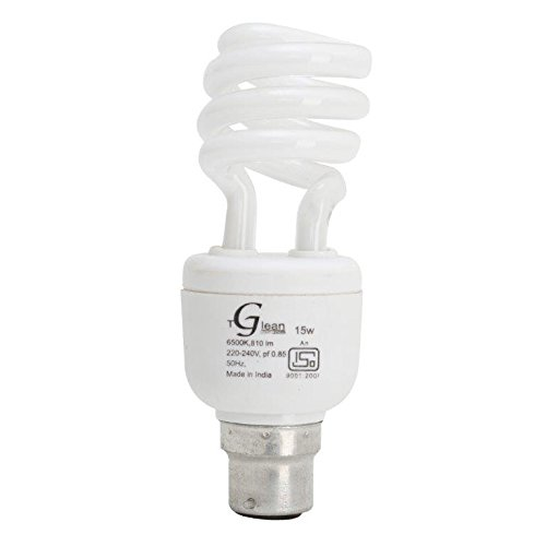 15Watt - CFL Spiral (Compact Fluorescent Light) - Pack of 1 Bulb - ISO 9001 2008 certified - Made in India - Glean Lights  available at amazon for Rs.220