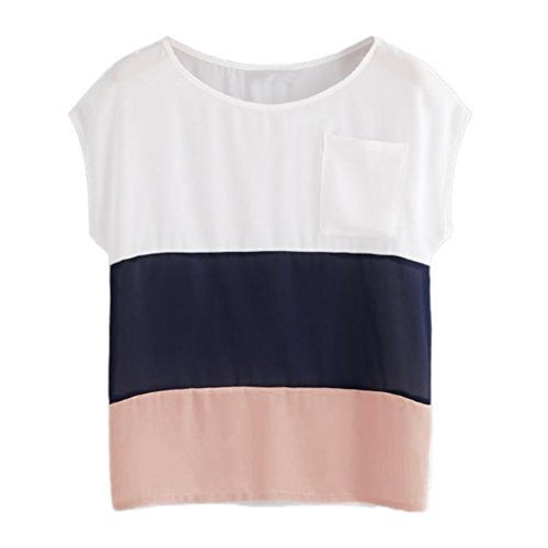 Kobay Women Patchwork Colorful Chiffon Thin Casual Summer Blouse Top Shirts,Ladies Summer Short Sleeve Casual Top