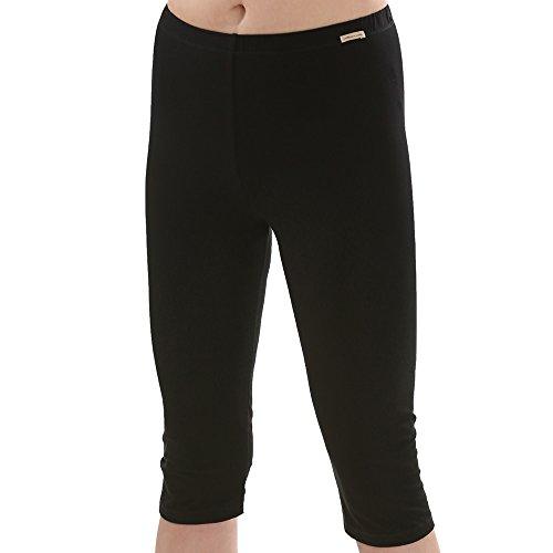 Comazo Earth Damen Capri-Hose - Fairtrade - Bio Baumwolle - Mit eingesäumtem Gummibund - Bio-Baumwolle - Farbe Schwarz - Größe 40 (Damen-bio-baumwoll-strumpfhose Leggings)