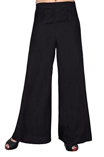 Elaine Women's Rayon Plazo (33010_Black_Large)