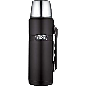 THERMOS 4003.232.120 Isolierflasche Stainless King, Edelstahl Mat Black 1,2 Liter, Drehverschluss, 24 Stunden heiß, 24 Stunden kalt, BPA-Free