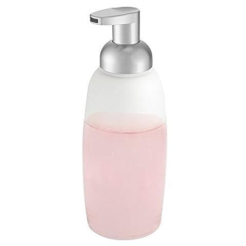 mDesign distributeur de savon rechargeable – pompe à savon transparente, distributeur de savon liquide avec une contenance de 354 ml – métallique/ argenté