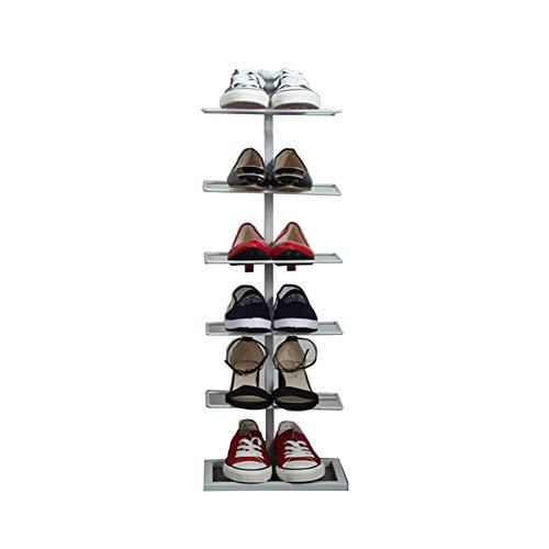 Six-Layer rack à chaussures en fer forgé simple maison de stockage de chaussures rack économie simple armoire à chaussures,White