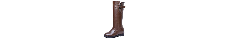 RTRY Zapatos De Mujer Charol Moda Otoño Invierno Botas Botas Botas De Combate Chunky Talón Rodilla Botas Altas... -