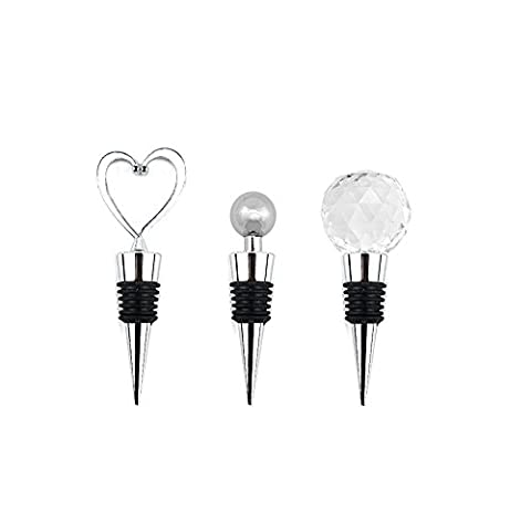 iNeith Wine Stopper 3 in 1 Kit Heart Shaped & Chrome Ball & Crystal Ball Stainless Steel Wedding Favors for Wine
