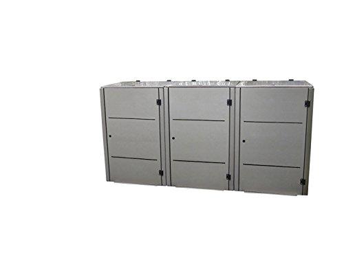 Mülltonnenbox Edelstahl, Modell Eleganza Line2, 120 Liter als Dreierbox - 2