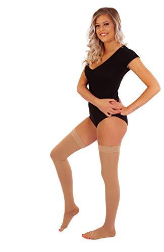RIEMTEX® med. Kompressionsstrümpfe Klasse 2 CCL2 offene Spitze Oberschenkel Schenkelstrümpfe für Damen und Herren in Beige oder Schwarz (Größe 7, Beige)