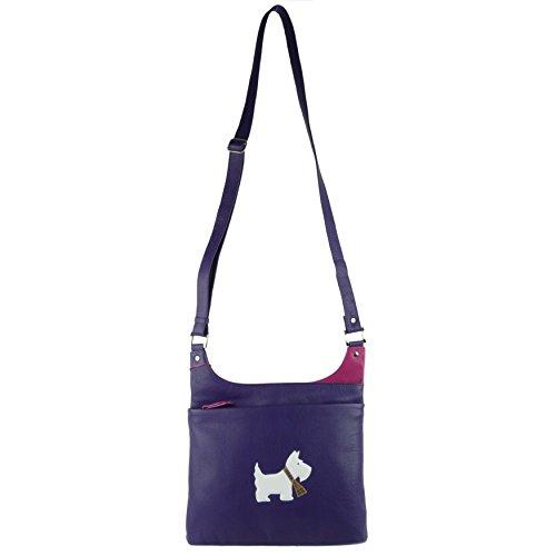 Mala Leather , Damen Umhängetasche Schwarz violett M violett