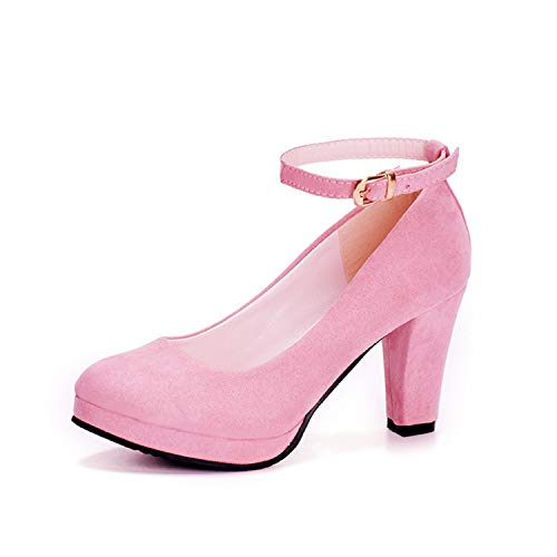 Autumn High Heels Women Pumps Platform Suede Shoes Women Ankle Strap Thick Heeled Ladies Shoes Comfortable Working Shoes WSH3166 Pink 8
