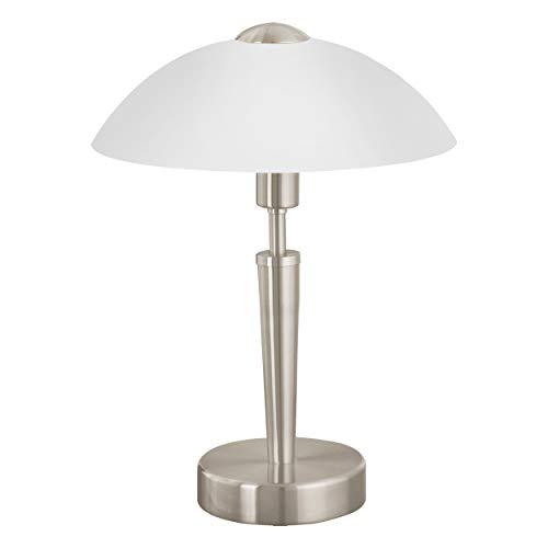EGLO Tischleuchte Solo 1, 1 flammige Tischlampe, Material: Stahl, Farbe: Nickel matt, Glas: satiniert weiß, Fassung: E14, inkl. Touchdimmer -