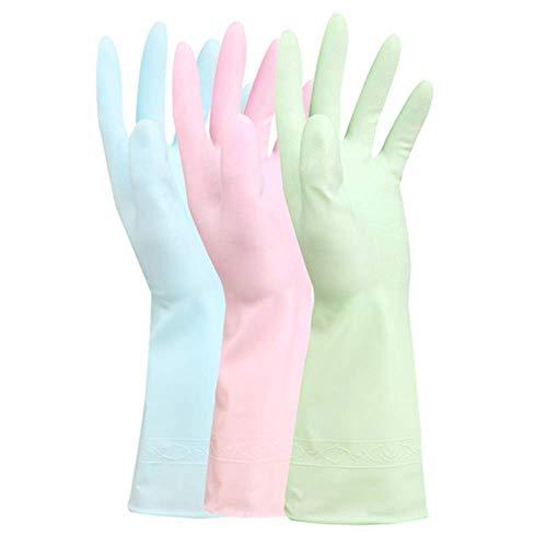 YWT 3-Pack Gummireinigung Gloves-Durable Padded Skin Care Clean House Handschuhe-Tea Tree Oil Dishwashing Gloves-Reusable Wäschekleidung Wasserdichte Handschuhe
