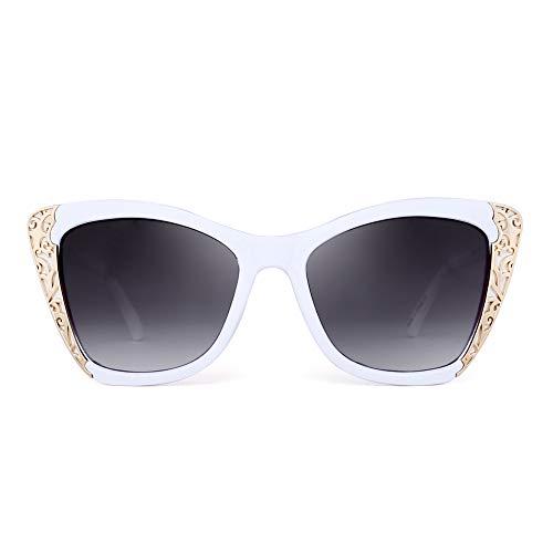 JM Luxus Verschönerung Oversized Stilvoll Designer Schatten Gradient Sonnenbrille Damen(Weiß/Gradient Grau)