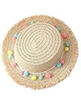 weimay niños niños niñas colorido Sunhats de paja ala ancha playa pequeña tapa con banda ajustable beige beige