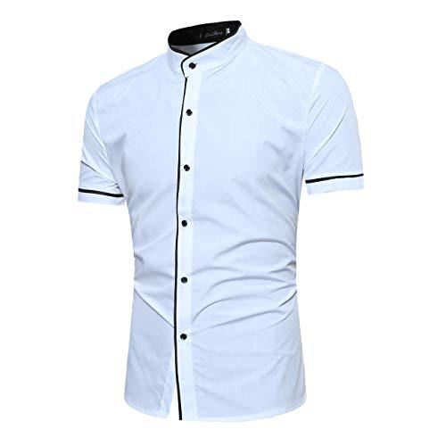 Herren Kurzärmelder Floral Gedruckt Freizeit und Mode Hemd Shirt(L,Weiß)