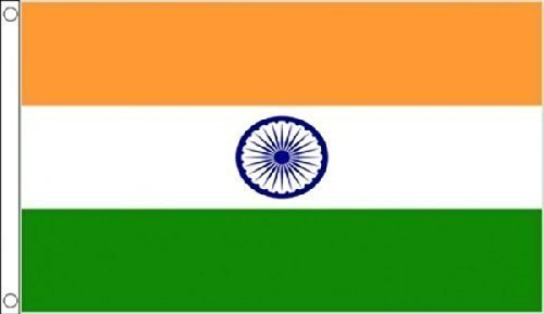 5ft x 3ft (150x 90cm) Indien Indische 100% Polyester Material Flagge Banner Ideal für Pub Club Schule Festival Business Party (Party Indische Dekorationen)
