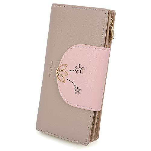 UTO Geldbörse Damen Lotus PU Leder Große Kapazität Kartenhalter Scheckheft Organizer Reißverschluss Aprikose (Brieftasche Frauen Iphone)