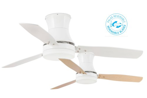 31Vc4iVmX L - Projector Barcelona Tonsay 33384Ceiling Fan with Light, 15W Motor, Wings: Wood and Steel/White Opal Glass Maple Polycarbonate White