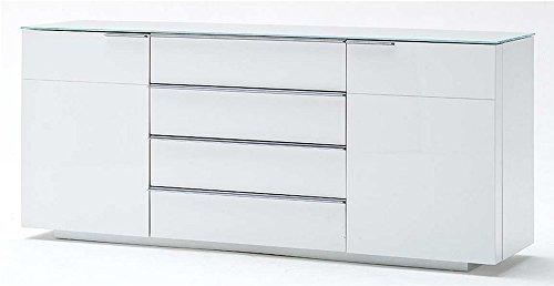 Sideboard in Hochglanz weiß mit Ablagefläche aus weißem Glas, 2 Türen, 4 Einlegeböden und 4 Schubkästen, Maße: B/H/T ca. 165/76/41 cm