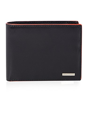 Visconti Portefeuille Trifold Cuir Homme 'Alps',Bordure Bleue Wallet(AP-52): (noir/arancia (Blk/Orange))