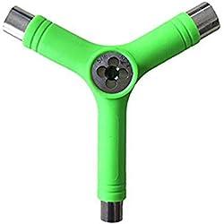 MXX Y-Bone Accesorio para Skate, Herramienta con Llave Allen Tipo Y Destornillador con Cabeza de Llave Phillips en Forma de L, Reparación para Varios Patinete,Verde