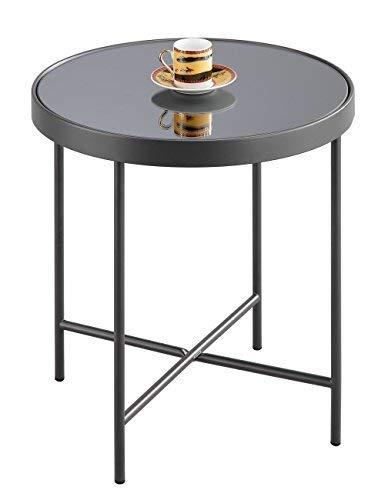 Aspekt Fino Glas rund Seite Kaffee End Lampe Tisch, Metall, Spiegel, anthrazit/grau, 42,5x 42,5x 46cm (Grau-kaffee-tisch)