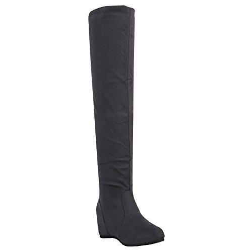Stiefelparadies Damen Schuhe Stiefel Keilabsatz Overknees Veloursoptik Boots 151929 Grau Samtoptik 41 Flandell
