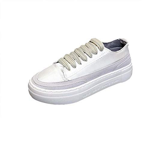 LILIGOD Damen Lässige Einfarbige Schuhe Modetrend Wild Turnschuhe Flache Schuhe Bequem rutschfest Studentenschuhe Frauen Lace-Up Dicker Boden Sneaker Plattform Outdoor Laufschuhe