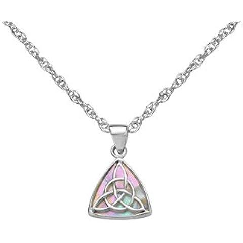 Celtic Ciondolo Triangolo in argento Sterling con madreperla e un nodo, con catena 18