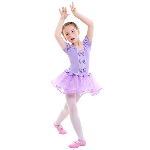 IWEMEK Kleinkind Kinder Mädchen Tutu Tüll Ballett Gymnastik Trikot Kleid mit Bowknot Ballerina Fancy Fairy Swan Kostüm Kinder Kurzarm Tanzbekleidung Violett 5-6 Jahre
