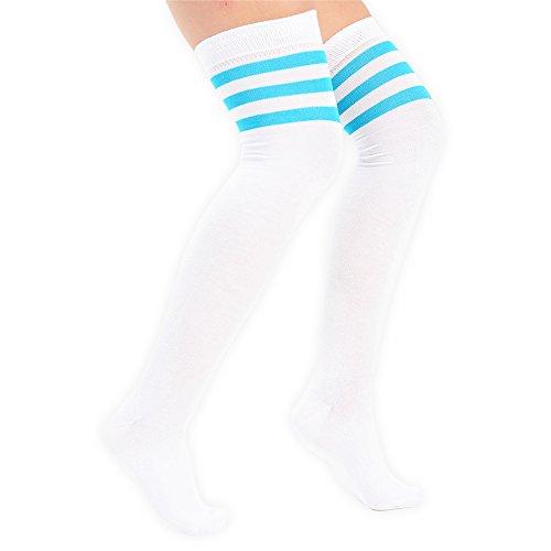 em Knie färbten 3 gestreifte Socken-Schenkel hohe Strümpfe Großbritannien 4-6 EU 37-3 ()