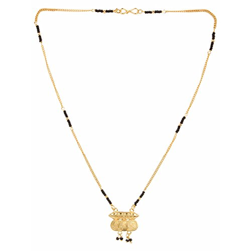 Efulgenz Traditional Jewellery Gold Plated Laxmi Coin Design Mangalsutra Pendant with chain for Women
